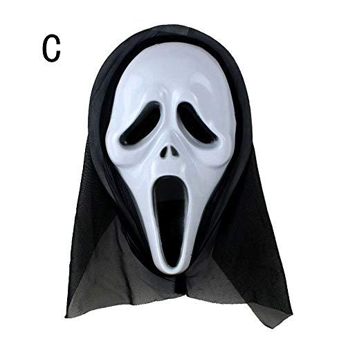 (VEMOW Heißer Halloween Party Dekoration Lustige Vielfalt Phantasie Ball Maske(Weiß C, 21 * 31cm))