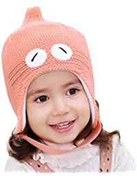 eedd6719a2f exemaba Baby hat Winter - Infant Toddler Kids Warm Beanie Knit Cap for  Girls