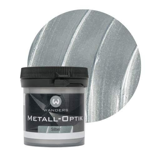 Wanders24 Metall-Optik (80 ml, Silber) Wandfarbe zum Spachteln im Metallic Look, individuelle Gestaltung für Zuhause, Farbe Made in Germany