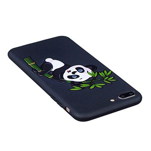 Cover iPhone 7 Plus, Custodia iPhone 7 Plus, Case in Silicone Nero Morbido TPU, Surakey Protettiva Bumper Back Cover Gomma Soft Sottile e Flessibile Custodia Gel Rubber Leggero Antiscivolo Antiurto Pr Piccolo Panda