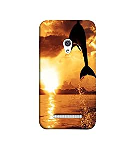 Fuson Jumping Dolphine theme Designer Back Case Cover forAsus Zenfone 5 A501CG-3DQ-1100
