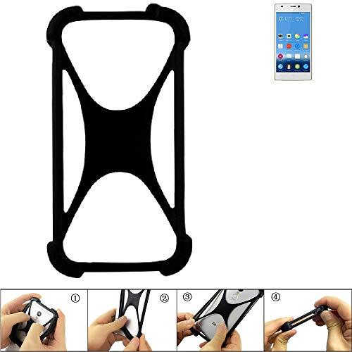 K-S-Trade Handyhülle für Gionee Elife S5.5 Schutz Hülle Silikon Bumper Cover Case Silikoncase TPU Softcase Schutzhülle Smartphone Stoßschutz, schwarz (1x)