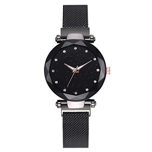 XMYL Damen Armbanduhren Sternenklarer Himmel Dial Quarz Uhren Lazy Dekoration Armband mit Magnetband,Black