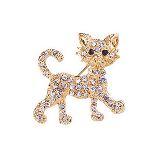 Fliyeong Premium Schmuck Ziemlich Vergoldet Voll Glänzend Klar Kristall Katze Broschen und Pins Hochzeit für Frauen Geschenk Gold
