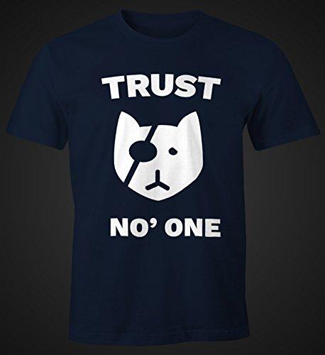 Cooles Herren T-Shirt Trust No One Katze Spruch Fun Shirt Moonworks® Trust No One navy