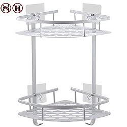No Drill Bathroom Corner Shelves, Laimew Aluminum Rustproof Adhesive Shower Shelf with Hanging Hooks(2 Tier)