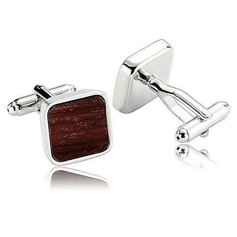 anazoz Fashion Jewelry Bague en acier inoxydable pour homme 1Paire Boutons de manchette fabriqué à la main en bois carré Marron hommes Boutons de manchette
