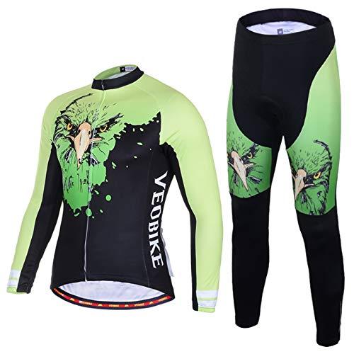 SonMo Schutz Radjacke + Fahrradhose Radfahren Jersey Set Fahrradbekleidung Set Langarm Radtrikot mit Sitzpolster Reflektorstreifen Grün L