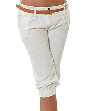 Yying Pantalones Capri para Mujeres 3/4 Harem Pantalones Moda Color Sólido Casual Shorts Deporte Shorts Tallas...