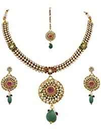 JFL - Traditional Ethnic One Gram Gold Plated Temple Laxmi Goddess Stone Designer Necklace Set With Earring For...