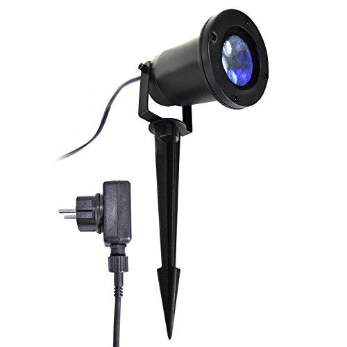 X4-Life 701538, Outdoor Projecteur LED flocon de neige, weihnachtsbeleuchtung, éclairage jardin, Projecteur, métal, noir, 14,5 x 9 x 10 cm