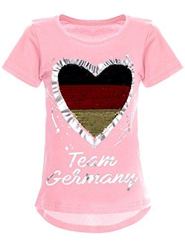BEZLIT Deutschland Mädchen Wende Pailletten WM 2018 Fan Fussball T Shirt 22512, Farbe:Rosa, Größe:152