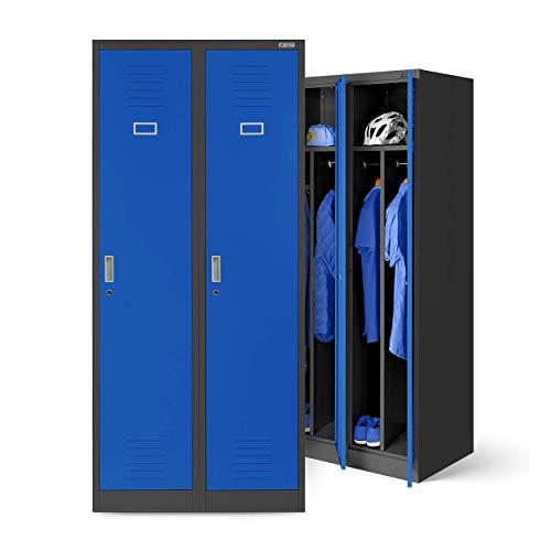 Stahlspind Garderobenschrank Spind Kleiderspind Doppelspind 2 Abteile Flügeltüren Trennwand Pulverbeschichtung 180 cm x 80 cm x 50 cm(H x B x T) (anthrazit/blau)