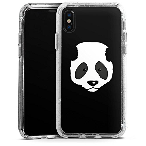 Apple iPhone 6s Plus Bumper Hülle Bumper Case Glitzer Hülle Panda Baer Bear Bumper Case Glitzer silber