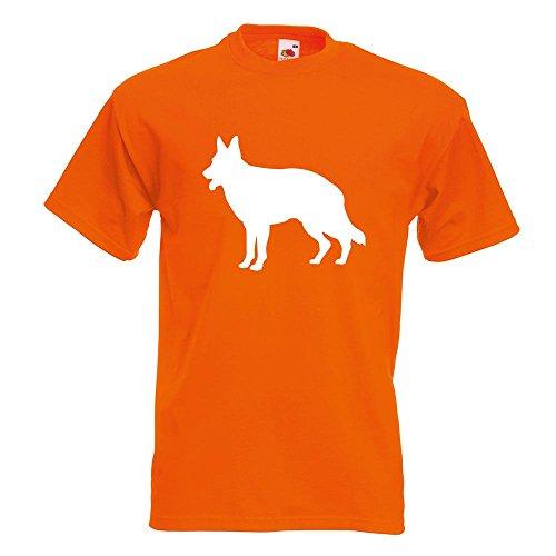 KIWISTAR - Deutscher Schäferhund Hund T-Shirt in 15 verschiedenen Farben - Herren Funshirt bedruckt Design Sprüche Spruch Motive Oberteil Baumwolle Print Größe S M L XL XXL Orange