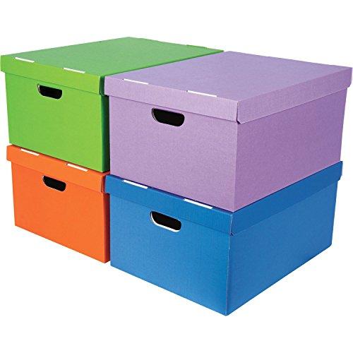 Bankers Box 44832 Pack de 4 Boîtes de rangement A4, Couleurs Assorties