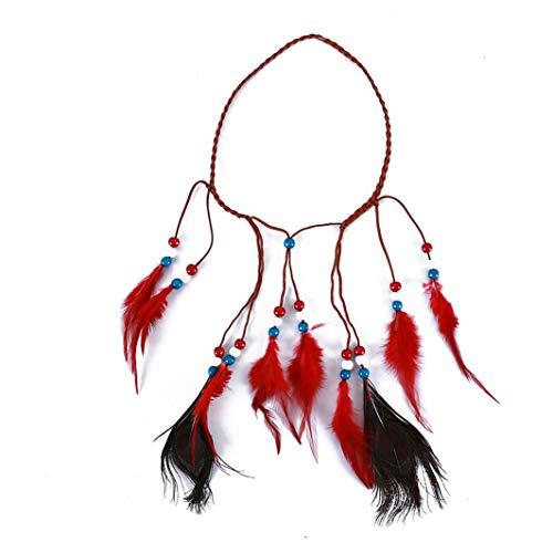 SHIJIANDE Vintage Feder Stirnband Indische Kopfschmuck Böhmische Feder Quaste Kopfschmuck Exquisite Tribal Seil Perlen Maskerade Kostüm Haarschmuck für Frauen ()