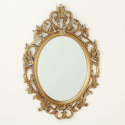 CasaJame Hogar Muebles Accesorios Decoración Espejo Ovalado para Colgar en la Pared con Acabado en Hojas de Oro 84x60cm