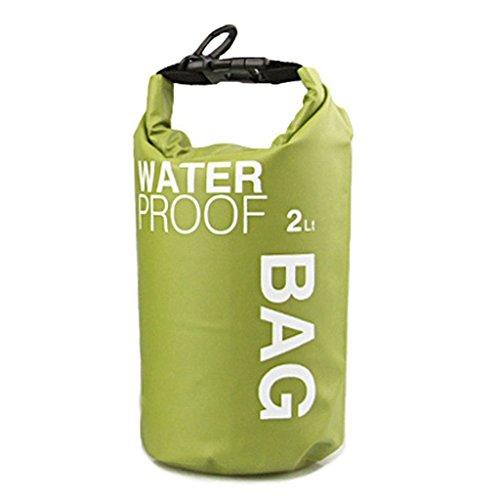 onewiller Wasserdicht Dry Bag Tasche für Camping Bootfahren Kajak Angeln Rafting Kanu (grün 2l)
