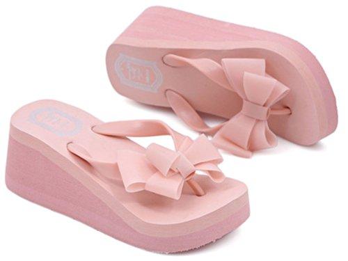 Dayiss® Mädchen Damenschuhe süße Schleife Sandaletten Dick Absatzform Sandalen Zehntrenner Badeschuhe Hausschuhe Freizeit Strandschuhe Pantoletten Flip Flops Pink