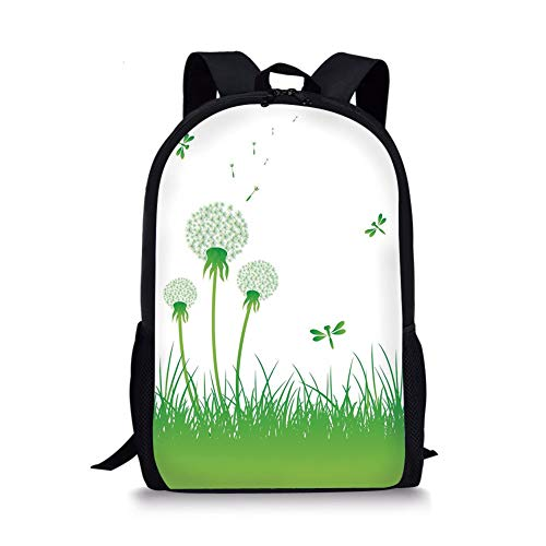 School Bags Dragonfly,Ecology Background with Dandelions Greenland Grass Habitat Nature Print Decorative,Lime Green White for Boys&Girls Mens Sport Daypack -