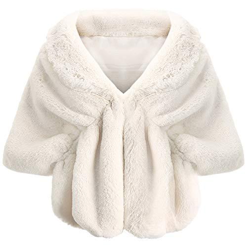 Coucoland Kunst Pelz Schal Damen Flauschig Faux Pelz Umschlagtuch Warm Kragen für Wintermantel 1920s Accessoires Gatsby Kostüm Zubehör (Beige)