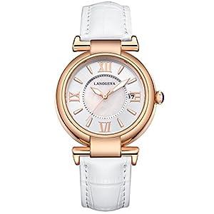 Reloj langgeya mujeres correa de cuero reloj de cuarzo de wexe.com