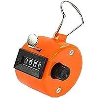 Yililay Orange Handzähler Zähler 4-stellige Anzeige für Lap/Sport / Trainer/Schule Tally-Kostenzähler-Handheld, Ziffer Rundenzähler mit manueller mechanischer Clicker Fingerring Fitness Zubehör