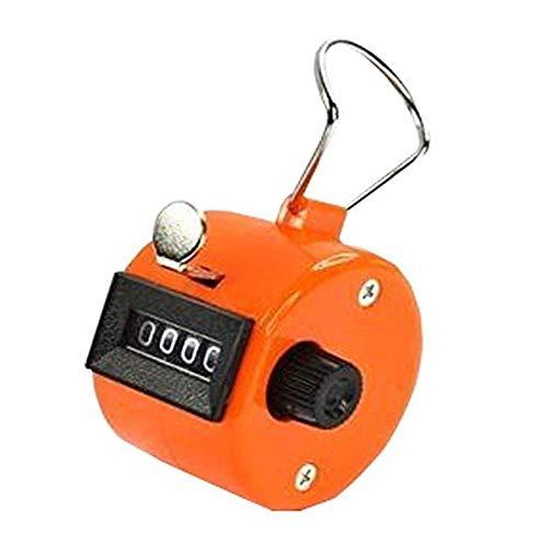 Yililay Orange Handzähler Zähler 4-stellige Anzeige für Lap/Sport/Trainer/Schule Tally-Kostenzähler-Handheld, Ziffer Rundenzähler mit manueller mechanischer Clicker Fingerring Fitness Zubehör