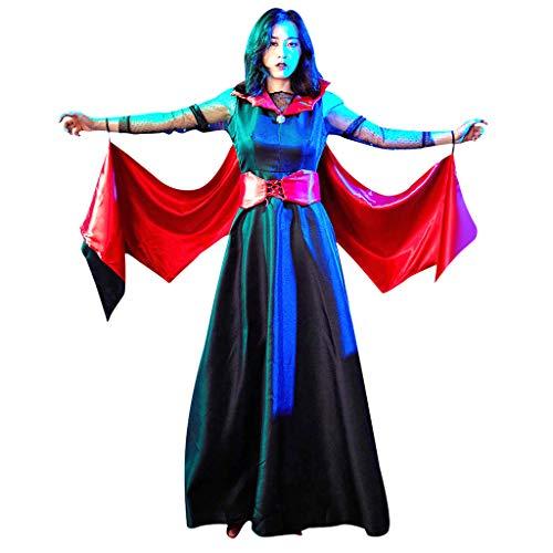 Battnot Damen Cosplay Kleider Vampir Königin Fledermaus Kleid Gothic Vintage Halloween Party, Frauen Maxi Kleid+Gürtel 2-teiliges Set Outfits Festlich Programm Kostüme Womens Halloween Cosplay Dress (3 Teiliges Krankenschwester Outfit Kostüm)