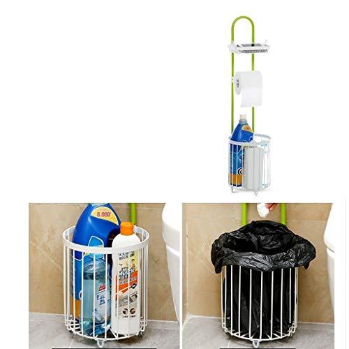 Freistehender Toilettenpapierhalter mit rundem rechteckigem Aufbewahrungskorb, Aufbewahrungsregal für Badezimmer aus Eisen und Metall (Color : Round Basket)