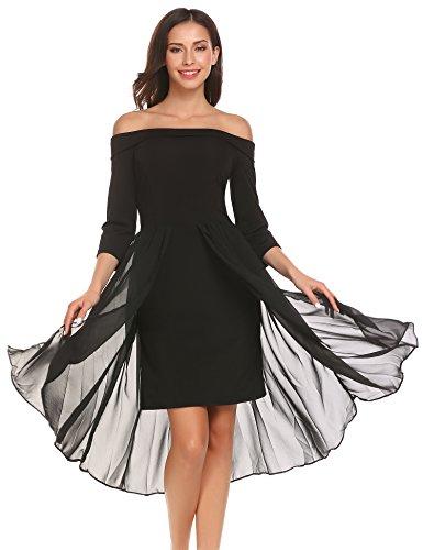 Meaneor Damen Chiffonkleid Abendkleid Schulterfreies Kleid Mit Saum Ballkleid Sommerkleid...