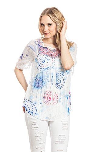 Abbino Megan Tuniques Femmes Filles - Fabriqué en Italie - 4 Couleurs - Transition Printemps Été Automne Plaine Manches Courtes Elegante Longue Chic Vintage Classique Col Roulé - Taille unique Bleu