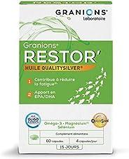 GRANIONS Restor' - 60 Capsules = 15 Jours à 30 Jours - Oméga-3 Epa & Dha, Magnésium, Sélénium - Réduit
