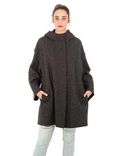 MaxMara Weekend CORSICA cappotto donna in lana con cappuccio tinta unita zip (40, GRIGIO)