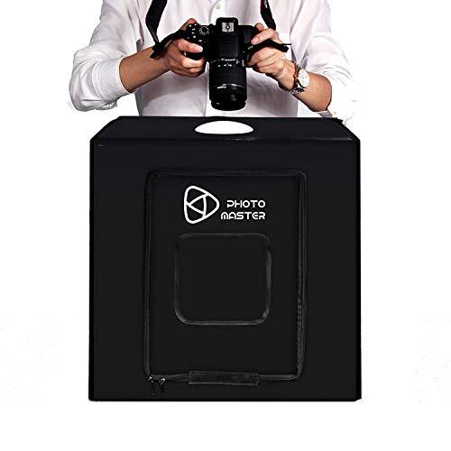 Estudio fotográfico Luz Tienda 60 * 60 * 60 cm, Cubo de luz (para fotografía Profesional portátil iluminación Studio Tiro Tienda Caja con LED y 3 Fondos (Blanco Negro Naranja)