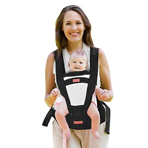 besrey Porte bébé Ergonomique Multi-Fonctions Ajustable avec Siège à Hanche et Chapeau. Pour Bébé de 3 à 36 mois(moins de 25 kg). Noir.