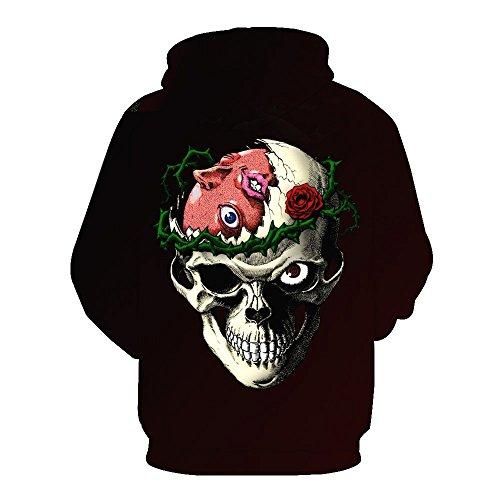 Schädel Hoodie Unisex: glücklich, 3D Print Skelett, Schädel, Horror, Tattoo Design Style J10