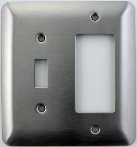 Mulberry Prinzessin Stil Satin Edelstahl zwei Gang Switch Plate–One LICHT Schalter Öffnung One GFI/Rocker Öffnung (Lutron-licht-schalter)