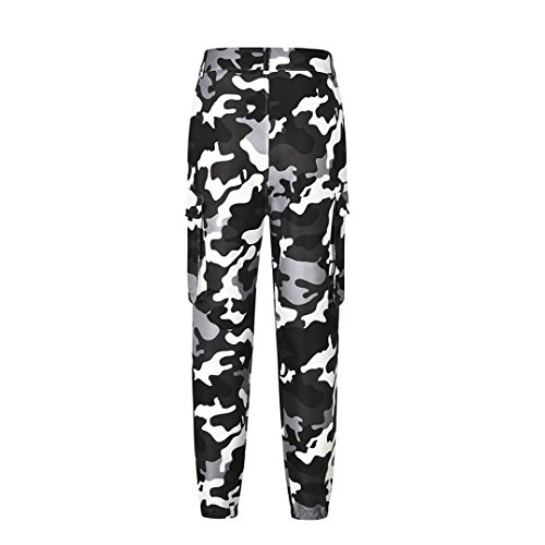 YULAND Damen Hose, Haremshose Pumphose Sommerhose Freizeithose Hosen - Camo Cargo Hosen Freizeithosen Military Army Combat Camouflage Pants (Weiß, 2XL)