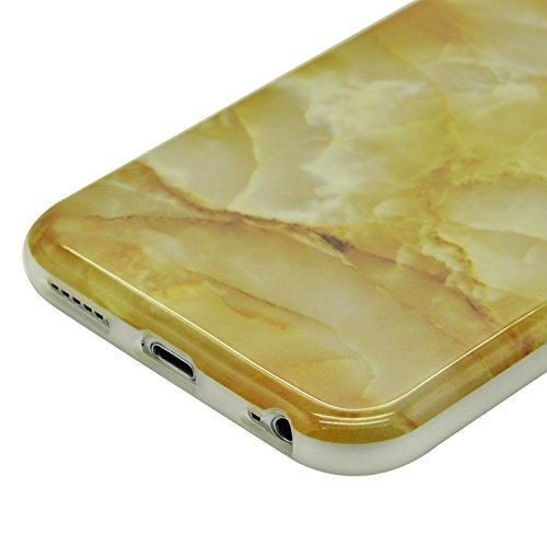 iPhone 6S Plus Marmor Hülle,iPhone 6 Plus Marble Case,Sunroyal Kreative Stylish Schickes Retro Elegant Schön Lila Gelb Achat Stein Pattern Silikon Handyhülle Weiß Stein Glamour Ultradünn Marble Malere Pattern 30