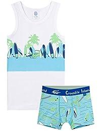 Sanetta Island - Juego de ropa interior para niño (2 piezas), color blanco