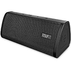 Enceinte Bluetooth 10W, MIFA A10 Haut Parleur Portable Bluetooth 4,2, Technologie TWS & DSP, IP45 Étanche et Anti-Poussière,Entrée Audio 3,5 mm, Port Micro SD et Microphone Intégré, Noir