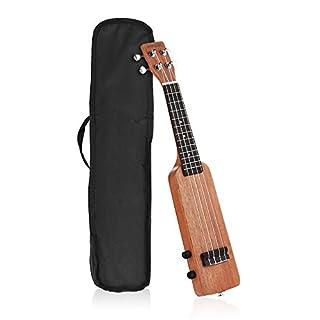 ammoon Electric Ukulele Creative 21inch Solid Wood Okoume Electric Ukulele Ukelele Uke with 3.5mm & 6.35mm Outputs Including Carrying Bag 4pcs Extra Strings