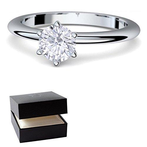 Verlobungsringe Weißgold Ring 585 von AMOONIC ***mit SWAROVSKI Zirkonia***+ inkl. Luxusetui + Solitär Ringe Zirkonia wie Diamantring Diamant- 585 Verlobungsringe Weißgold - Precious AM195WG585ZIFA54 (Gangster Freundin Kostüme)
