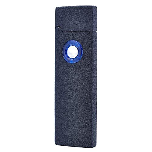 Preisvergleich Produktbild Mini-USB-Feuerzeug Clamshell, Flammenloses windfestes elektrisches Feuerzeug, über USB wiederaufladbar, Feuerzeug mit Geschenk-Box und Ladekabel (schwarz)