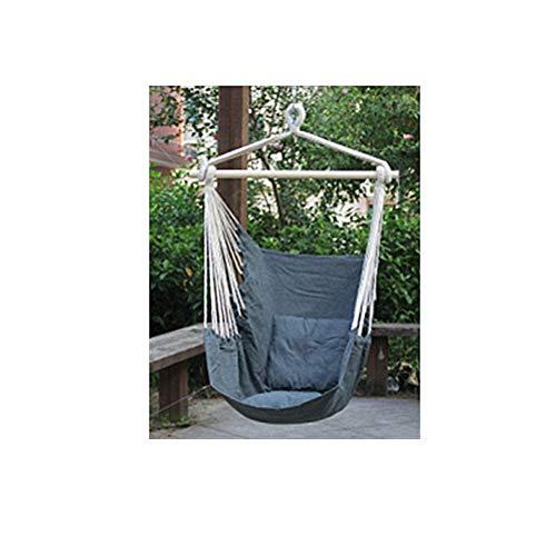 ANPI Hängematte Stuhl Seil Hängen Schaukel, Garten Hängende Seil Hängematte Stuhl Veranda Swing Sitz mit Zwei Kissen für Drinnen Draußen Yard Veranda Patio (Grau)