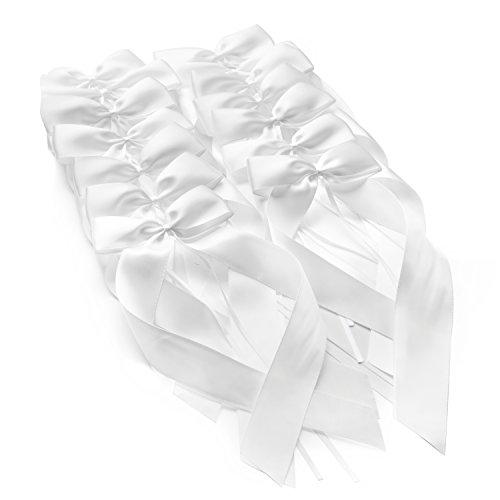 50 Antennenschleifen Autoschleifen Hochzeit (weiß, Satin, 200 mm) + Checkliste Hochzeitsdeko. Autoschmuck