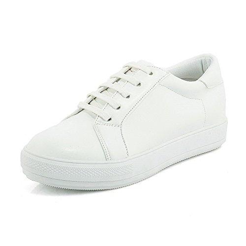 AllhqFashion Femme Couleurs Mélangées à Talon Correct Rond Lacet Chaussures Légeres Blanc
