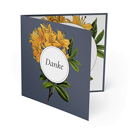 (80 x) Hochzeit Danksagungskarten Dankeskarten Danke Danksagungen Karten - Blumen Orange